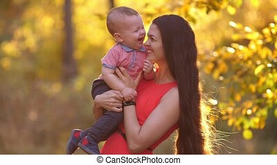 toneelstuk, haar, natuur, vrolijk, moeder, baby
