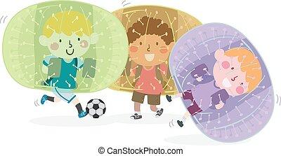 toneelstuk, illustratie, bel, groep, jongen, geitjes, voetbal