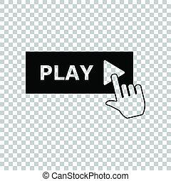 toneelstuk, illustration., teken., hand, achtergrond., zwarte knoop, transparant, pictogram