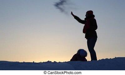 toneelstuk, kind, silhouette, sneeuw, moeder