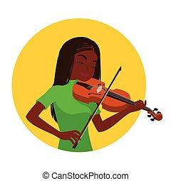toneelstuk, klassiek, geïnspireerde, musicus, spelend, ...