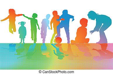 toneelstuk, kleurrijke, kinderen