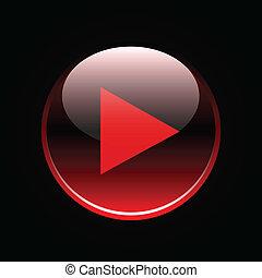 toneelstuk, pictogram, op, rood, glanzend