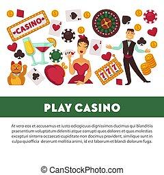 toneelstuk, poster, casino, reclame, uitrusting, geluksspelletjes