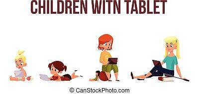 toneelstuk, smartphone, kinderen, tablet, of