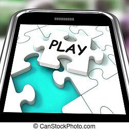 toneelstuk, smartphone, optredens, ontspanning, en, spelen,...