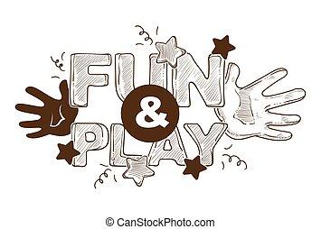 toneelstuk, titled, poster, etiket, handen, plezier, ontwerp, spandoek, logo