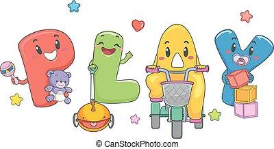 toneelstuk, toddler, mascotte, illustratie, speelgoed