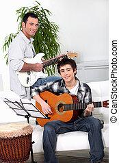 toneelstuk, vader, zoon, gitaar, hoe, onderwijs