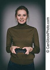toneelstuk, vrouw, computer spel