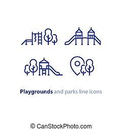 toneelstuk, zone, park, uitrusting, speelplaats, kinderen, alhier