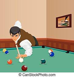 toneelstukken, man, schot., billiard