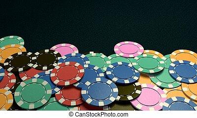 tonen, casino, hand, donkere achtergrond, frites