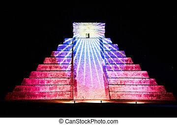 tonen, zeven, wonderen, mexico, een, chichen, wereld, licht, itza, nieuw