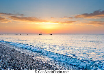 tonen, zon, op, zonneschijn, gele, morgen, zee