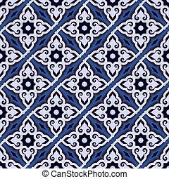 tones., colorido, mosaic., islámico, diseño, árabe, azul, detalle, arabesco, patrón, seamless, ornamento