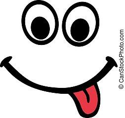 tong, smiley, rood