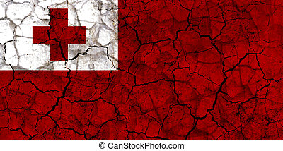 tonga country flag painted on a cracked grungy wall