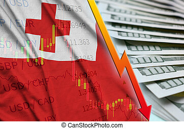 Tonga flag and chart falling US dollar position with a fan of dollar bills. Concept of depreciation value of US dollar currency