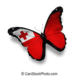 Tonga flag butterfly, isolated on white