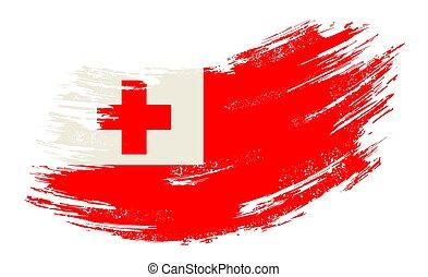 Tonga flag grunge brush background. Vector illustration. - ...