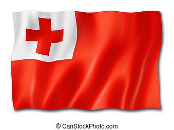 Tonga flag isolated on white