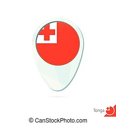 Tonga flag location map pin icon on white background.