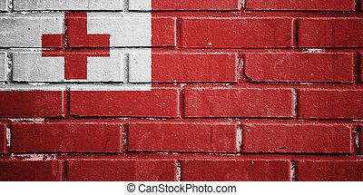 Tonga flag on brick wall
