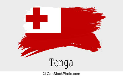 Tonga flag on white background