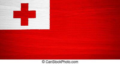 Tonga flag on wood texture