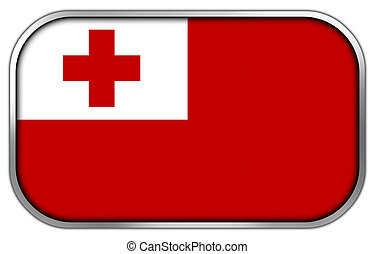 Tonga Flag rectangle glossy button