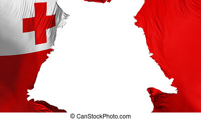 Tonga flag ripped apart, white background, 3d rendering