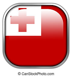 Tonga Flag square glossy button