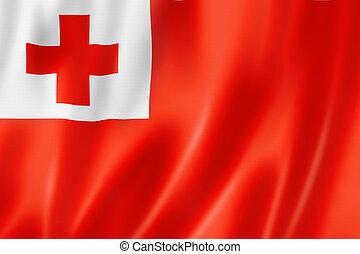 Tonga flag, three dimensional render, satin texture