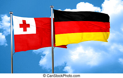 Tonga flag with Germany flag, 3D rendering