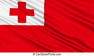 Tonga Flag, with real structure of a fabric