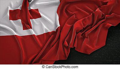 Tonga Flag Wrinkled On Dark Background 3D Render