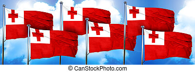 Tonga flags, 3D rendering, on a cloud background