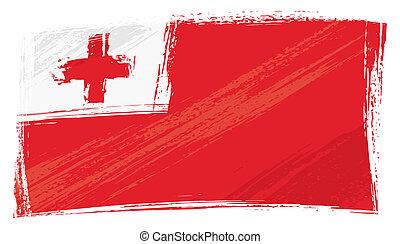 tonga, grunge, bandera