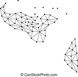 Tonga map of polygonal mosaic lines network, rays and dots...