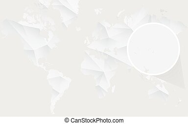 Tonga map with flag in contour on white polygonal World Map....
