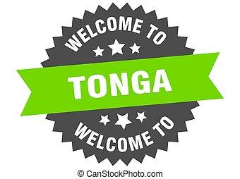 Tonga sign. welcome to Tonga green sticker