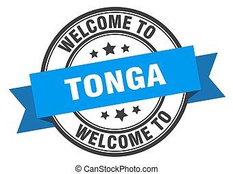 Tonga stamp. welcome to Tonga blue sign