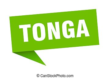 Tonga sticker. Green Tonga signpost pointer sign