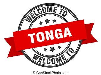 TONGA - Tonga stamp. welcome to Tonga red sign
