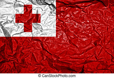 Tonga vintage flag on old crumpled paper background