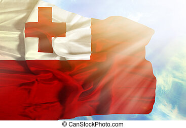 Tonga waving flag against blue sky with sunrays