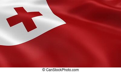 Tongan flag in the wind