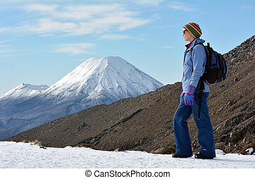 Tongariro National Park Mount Ngauruhoe - Woman (side view)...