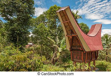 Tongkonan houses, traditional Torajan buildings, Tana Toraja...